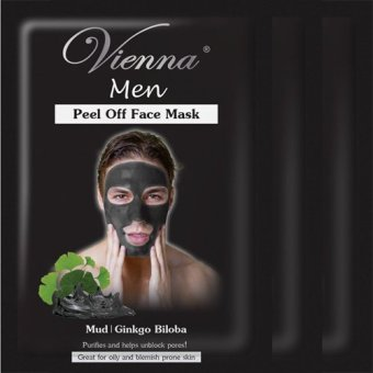 Vienna Men Peel Off Face Mask - Mud / Ginkgo Biloba (3pcs)
