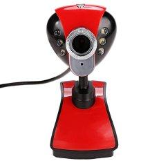 6 LEDs USB 2.0 12M Webcam Camera With Built In 3.5mm Mic For Desktop PC Laptop (Red)