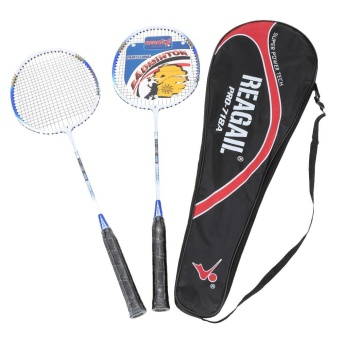 2Pcs Training Badminton Racket Racquet with Carry Bag Sport Equipment Durable Lightweight Aluminium Alloy - intl