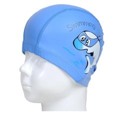 360DSC pola kartun lumba-lumba topi renang dengan PU lapisan Waterproof topi penutup telinga untuk