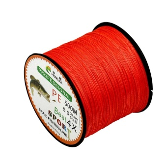 4 Strands Super Strong PE Braided Fishing Line 500M Color:RedSize:0.28mm 38lbs - intl