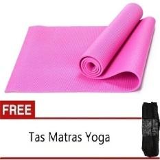 Anekaimportdotcom Matras Yoga, Yoga Mat, Pilates Mat - 6mm - Pink + Gratis Tas