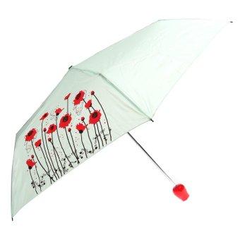 Flowers Pattern Rose Vase Shaped Folding Umbrella Anti-UV Sun Rain Manual Umbrella (Light Green)
