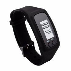 Gelang Sport LCD Pedometer Kalori Calorie Jam Tangan Olahraga Strap Karet Silicone - Hitam