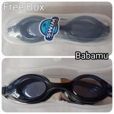 Kacamata Renang Anti Fog with Box - Water World Swim Goggle Antifog - Hitam - Babamu