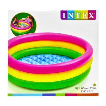 ... Kolam renang Anak Pelangi Sunset Glow Baby Pool 3 Ring 86cmx25cm INTEX 58924