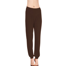 LALANG Women Sports Yoga Pants Bloomers Harem Trousers Stretch Coffee