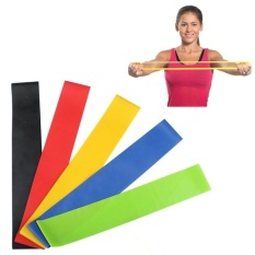 LLS 5 Color (Black, Blue, Green, Red, Yellow) Heavy Thicker Resistancebands Fitness Natural Latex Stretch Band Yoga Straps With Pouch Bag - intl