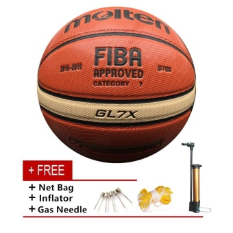 Official Molten GL7X Basketball Size 7 PU Leather Basketball BallTraining Basket Ball Equipment Free Net + Needle - intl