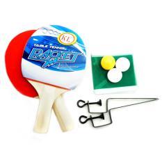 Paket Raket Bat Tenis Meja Ping Pong Net Bola 3 Buah - Multi Colour