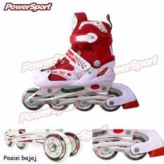 Power Sport Sepatu Roda in Line Skate 2 in 1 Adjustable Wheel - Merah L (38 - 42)