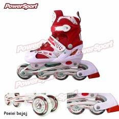 Power Sport Sepatu Roda in Line Skate 2 in 1 Adjustable Wheel - Merah M (34 - 37)