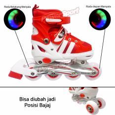 Power Sport Two-Stripes 5000 Aosite inLine Skate Sepatu Roda 2 in 1 Adjustable Wheel - M ( 34 - 37 )