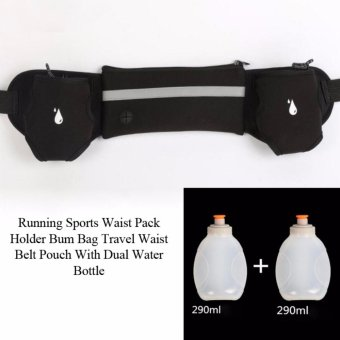 Running Sports Waist Pack Holder Bum Bag Travel Waist Belt PouchWith Dual Water Bottle - intl