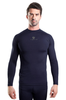 Tiento Baselayer Manset Rashguard Compression Baju Kaos KetatOlahraga Bola Renang Running Gym Fitness Yoga Long Sleeve NavySilver Original