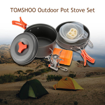 TOMSHOO Outdoor Camping Hiking Cookware with Mini Camping Piezoelectric Ignition Stove Backpacking Cooking Picnic Pot Stove Set - intl