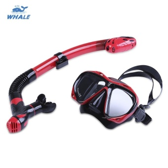 WHALE Professional Diving Training Snorkeling Silicone Mask SnorkelGlasses Set (Red With Black) - intl