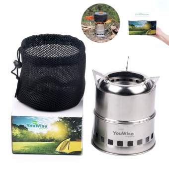 Wood Burning Collapsible Stove-YouWise(TM) Stainless Steel Mini Portable Lightweight Stove with Mesh Carry Bag -Perfect for Outdoor Cooking,Picnic Camping,Survival Packs, Emergency,Multi Models to Choose - intl