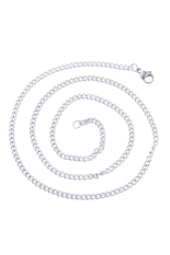 1.6mm Stainless Steel Cuban Curb Link Chain Necklace Silver Tone 52cm