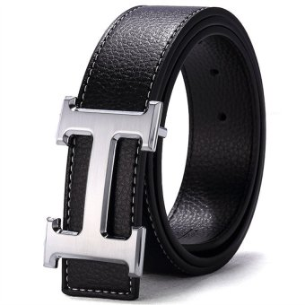 120CM (+ - 5CM) Fashion Style Men Cowskin Leather Belt MBT16H-2 (Black + Silver Buckle)