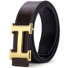 120CM (+ - 5CM) Fashion Style Men Cowskin Leather Belt MBT16H-3 (Coffee + Gold Buckle)