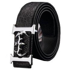 120CM (+ - 5CM) Men Crocodile Cowskin Leather Belt MBT16D-1 Black