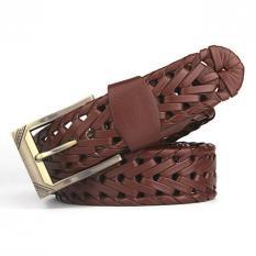 120CM (+ - 5CM) Men's Fashion Jeans Weave Leather Belt MBT3058-2 Coffee