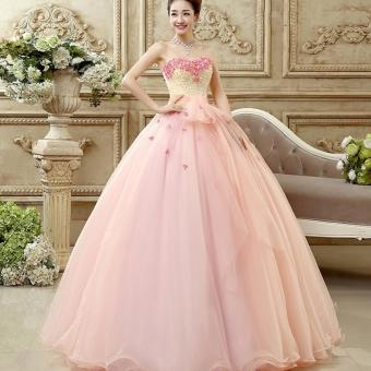 1606002-Gaun Pengantin Soft Pink Peach Wedding Gown Wedding Dress