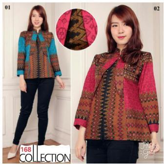 168 Collection Atasan Blouse Yurike Kemeja Batik-Biru