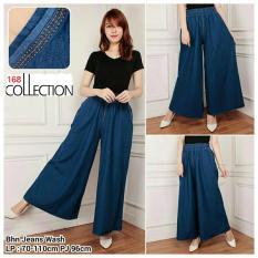 168 Collection Celana Kulot Rok Vella Jeans Pant-Biru