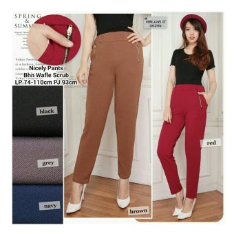 168 Collection Celana Nancy Zipper Pant-Abu