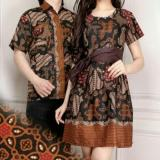 168 Collection Couple Batik Dress Midi Malaeka Short Dress Wanita dan Atasan Kemeja Pria
