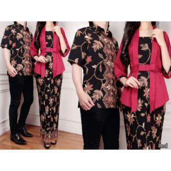 168 Collection Couple Stelan Atasan Blouse Exclusive Kebaya Dan RokLilit Batik-Maroon