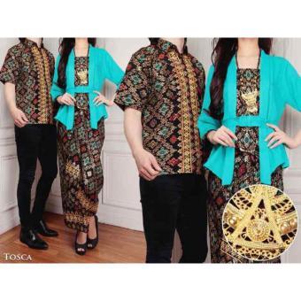 168 Collection Couple Stelan Atasan Blouse Exclusive Kebaya Dan Rok Lilit Batik-Tosca