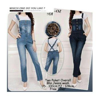 168 Collection Leonita Jeans Overall Celana-Biru Muda