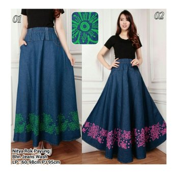 168 Collection Rok Maxi Payung Nitha Jeans Skirt-Biru Hijau 01