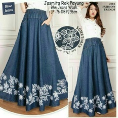 168 Collection Rok Payung Jasmine Jeans Skirt-Biru