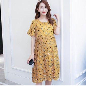 45ef583bf5 1703  Quality Floral Printed Chiffon Maternity Dress Summer Korean Fashion  Clothes for Pregnant Women Pregnancy