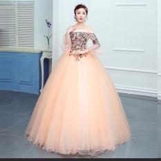 1711021 Gaun Pengantin Peach Sabrina Lengan Siku Wedding Gown Wedding Dress