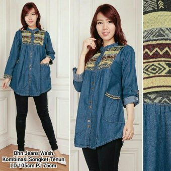 1x SB Collection Atasan Blouse Dewita Jeans Kemeja Songket Tunik-Biru Tua