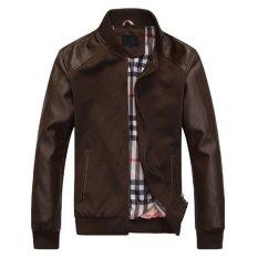2015 Fall Fashion Men's Faux Leather Jacket Men's Casual Wear Top Quality Size M-XXL (Intl)