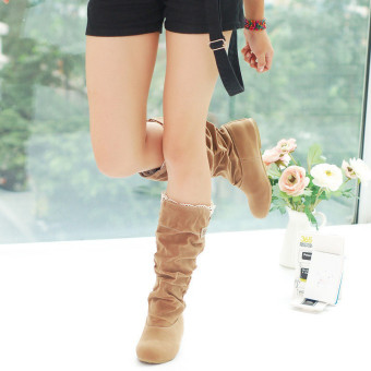 2016 Hot Autumn Winter Womens Mid Calf Snow Boots Increased Internal Heel Shoes BROWN - intl