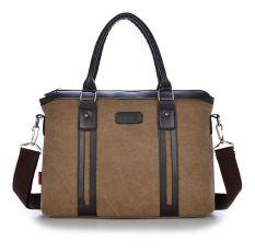 2016 Hot Men's Fashion Canvus Handbag Laptop Briefcase Shoulder Messenger Bag (Coffee) - Intl