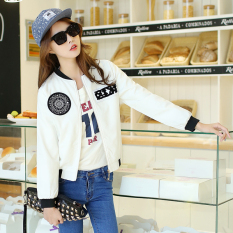 2016 New Autumn Korean Fashion Coat Stitching Jacket Lightweight Jackets Printing Long Sleeve Baseball Jackets -white