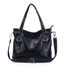 2016 New Fashion Leather Handbags Women Messenger Bag Women Leather Shoulder Bag Ladies Cowhide Totes (Black)