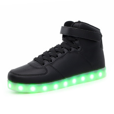 2016 New Men Fashion Luminous Shoes High Top LED Lights USB Charging Colorful Shoes Casual Flash Shoes (Black) - Intl