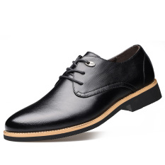 2016 New Men's Leather Shoes British Men's Leather Business Casual Shoes (Black) - Intl