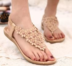 2016 Plus Size Sandalias Soft Leather Sloe Flat Women's Sandals Flower Decoration Bohemian Style Flip Flop Beach Sandal Lady Summer Shoes Cream-colored - Intl