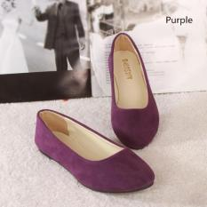 2016 Spring Autumn Korean Fashion Pointed Women Flat Shoes Shallow Mouth Candy Color Shoes (Purple) - intl