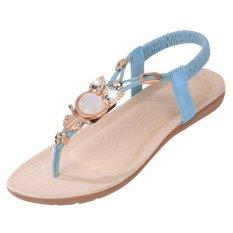 2016 Summer New Bohemian Sandals Flat With Owl Beaded Flat Thong Sandals - Intl